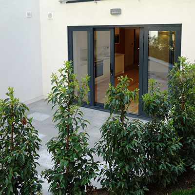 An image of Patio area to one of the apartments, The Point, Hove. goes here.