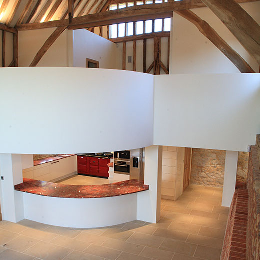 Image of Banqueting Hall with Kitchen below, Place Farm Barn, Bletchingley, Surrey