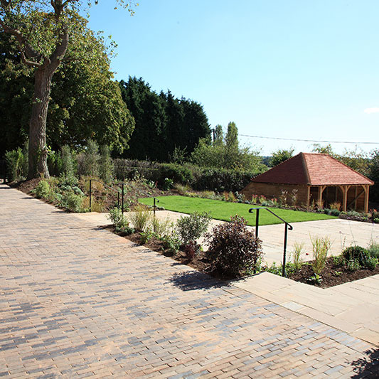 Image of Outdoor terrace, Place Farm Barn, Bletchingley, Surrey