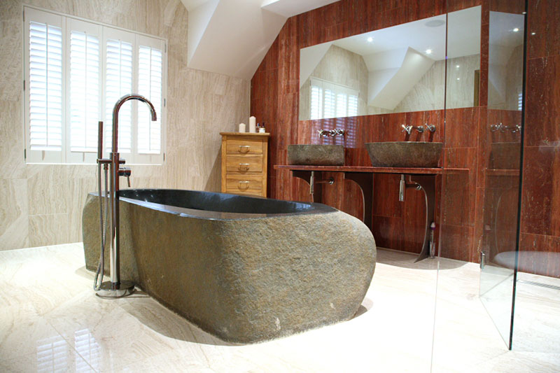 Image of Solid basalt bath in feature bathroom, Kenley, Surrey