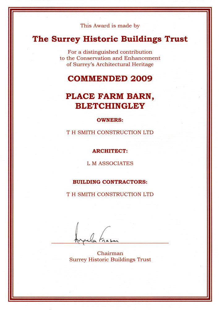 Image of Suurrey Historic Buildings Trust Commendation Certificate