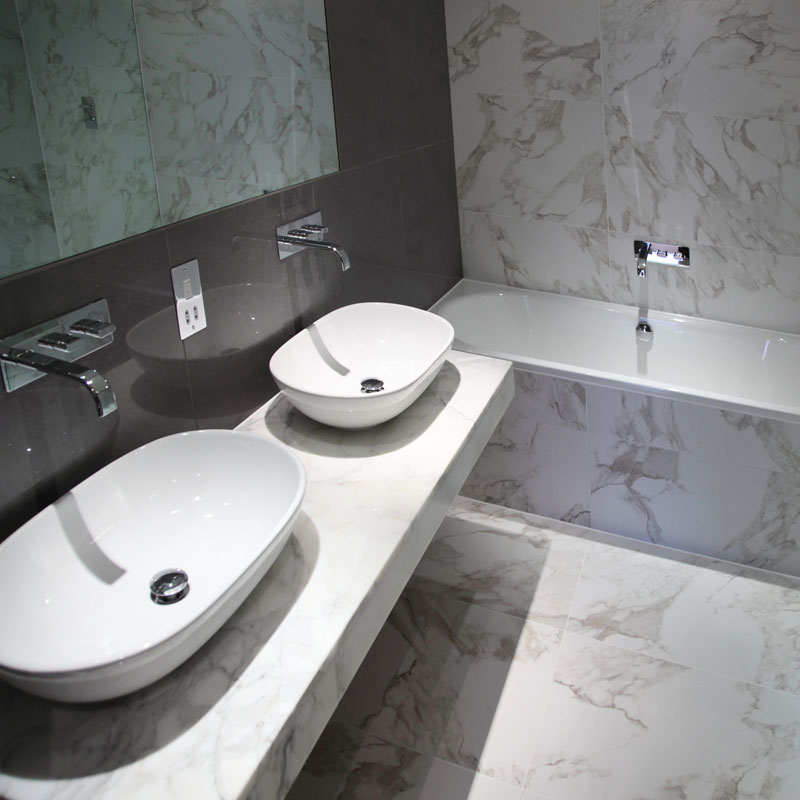 Image of Luxury bathroom specification with a contemporary finish.
