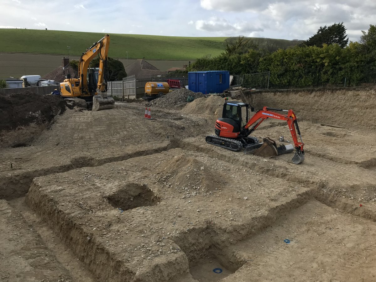 An image of Groundwork progresses in readiness for this new build project in Ovingdean. goes here.