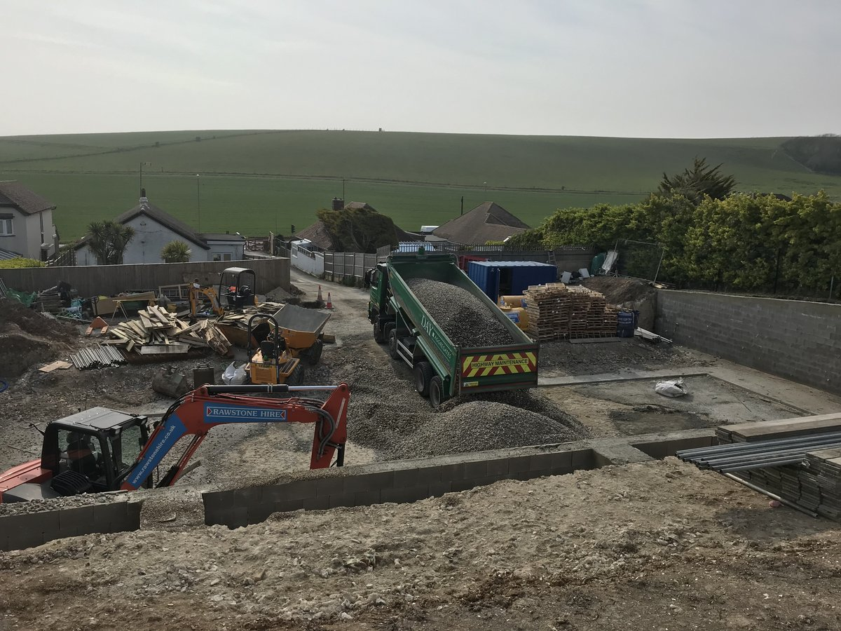 Image of Materials are arriving now and the footprint of the new homes is taking shape
